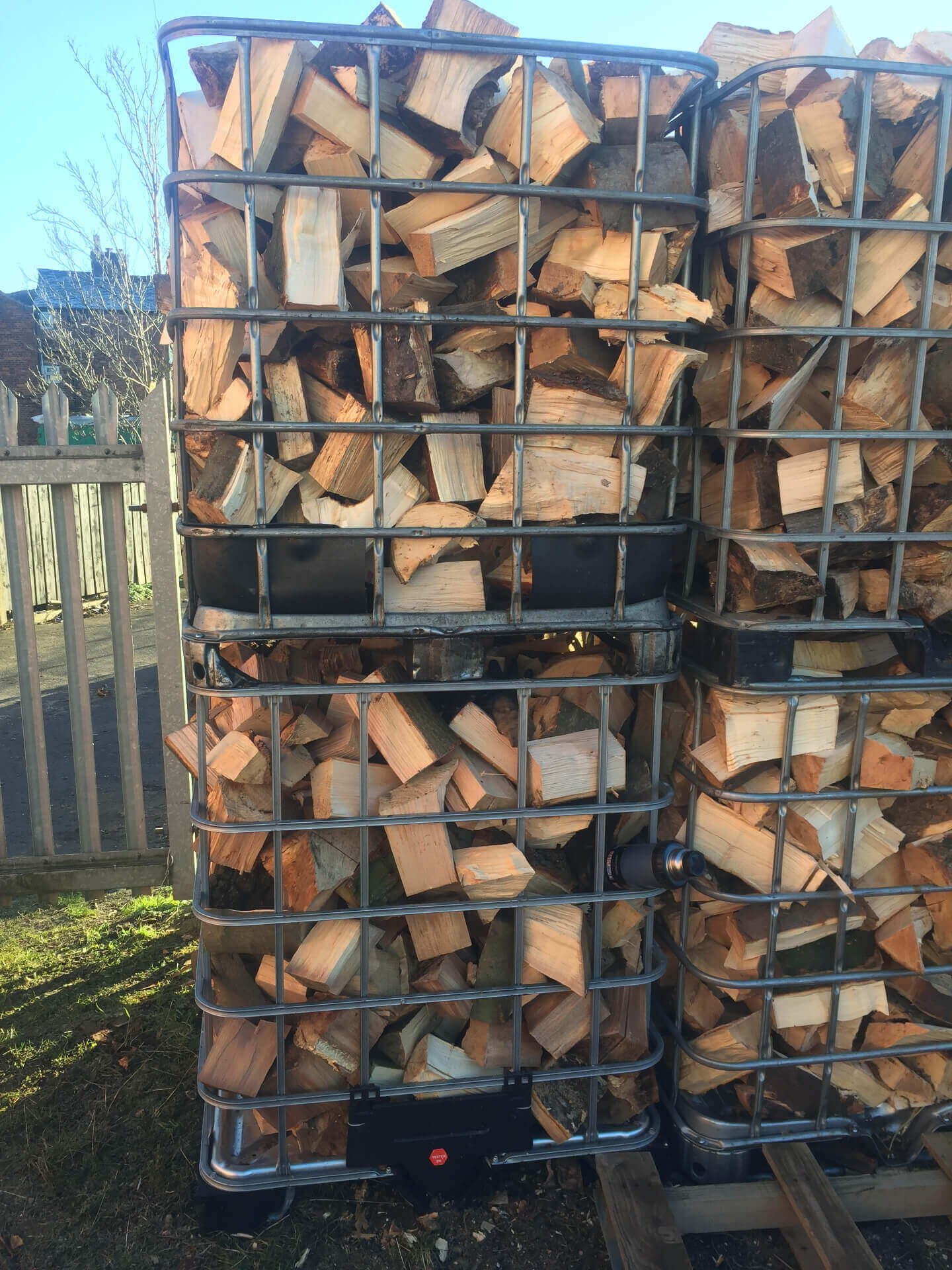 ibc crates full of firewood